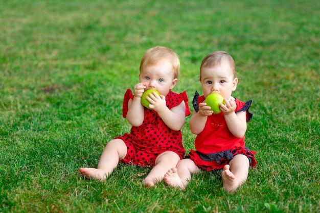 Twee tweelingbaby's eten een groene appel in een rode bodysuit op het groene gras in de zomer, ruimte voor tekst, het concept van gezonde babyvoeding
