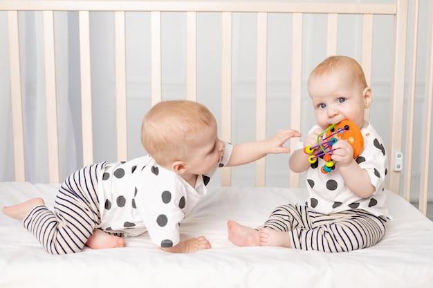 Twee tweelingbaby's van 8 maanden oud spelen in de wieg, vroege ontwikkeling van kinderen tot een jaar