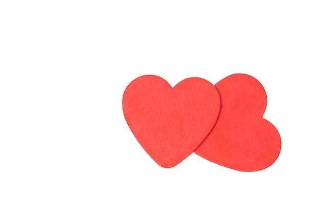 Twee van rode harten isoleren op witte achtergrond