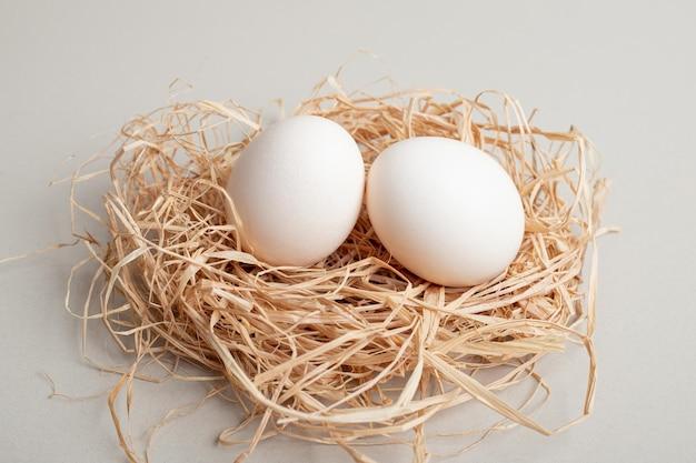 Twee verse witte kippeneieren op hooi.