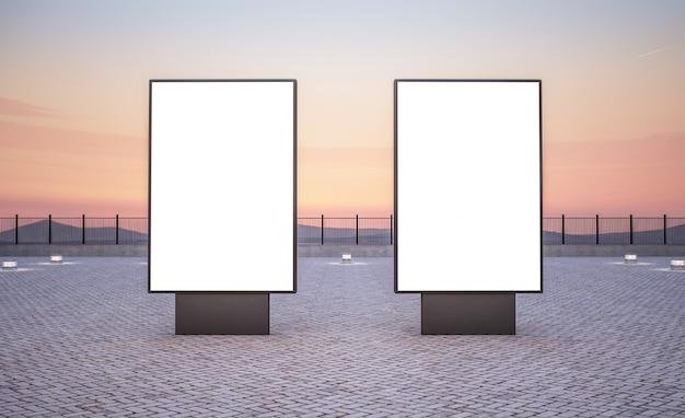 Twee verticale reclameborden