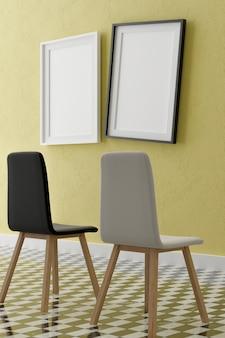 Twee verticale witte frame mock up, houten frame en stoelen op gele muur, 3d illustratie