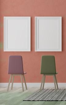 Twee verticale witte frames en stoelen op oranje muur