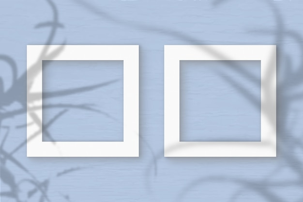 Twee vierkante frame vel wit geweven papier op de blauwe muur achtergrond. mockup met een overlay van plantschaduwen. natuurlijk licht werpt schaduwen van stekelige aloë's. plat lag, bovenaanzicht. horizontaal