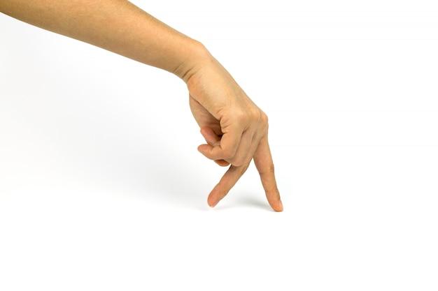 Twee vingers die op witte achtergrond lopen