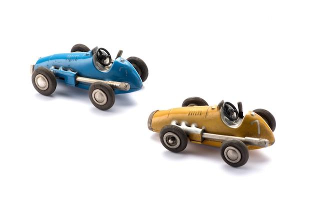 Twee vintage stijl speelgoed raceauto's