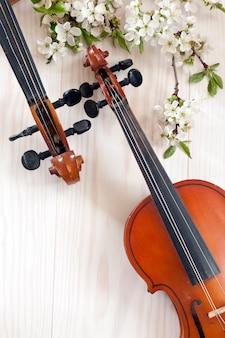 Twee violen en tot bloei komende kersenboomtakken op witte houten achtergrond.