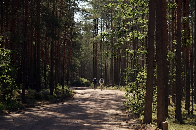 Twee volwassenen fietsen op een onverharde bosweg, uitzicht vanaf de achterkant