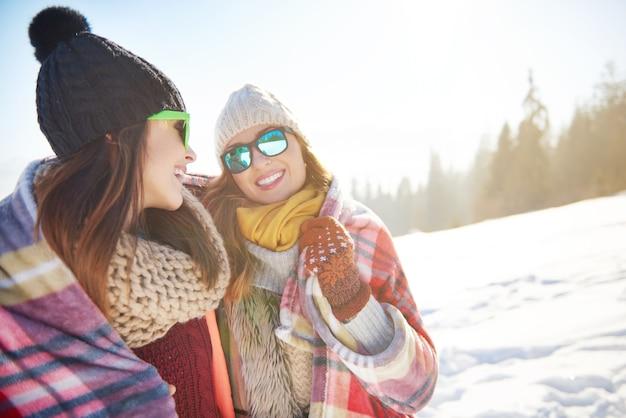 Twee vrienden in de sneeuw