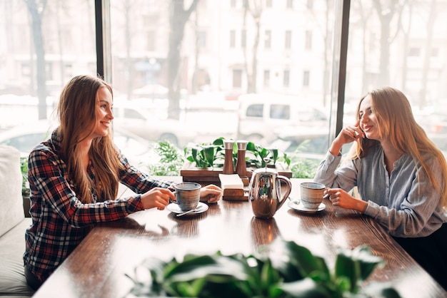 Twee vriendinnen ontmoetten elkaar in een café om koffie te drinken