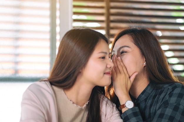 Twee vriendinnen vertellen en roddelen het geheim