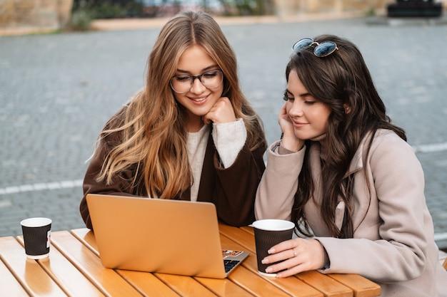 Twee vrolijke, aantrekkelijke vrouwenvrienden die buiten in het café zitten en op een laptop werken