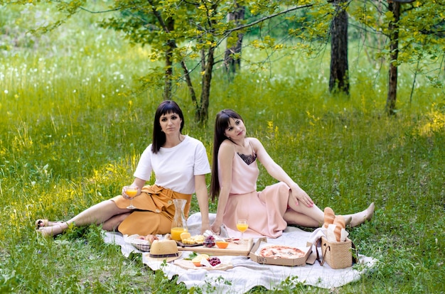 Twee vrolijke jonge meisjesvrienden die een picknick hebben