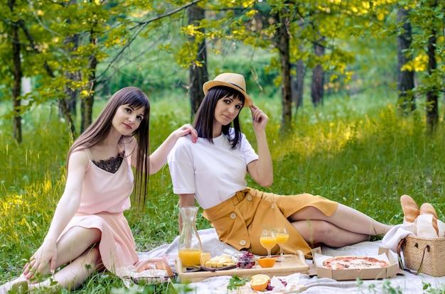 Twee vrolijke jonge modieuze vrouwen die picknick op zonnige dag hebben