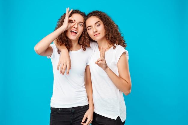 Twee vrolijke jonge vrouwentweelingen die over blauw stellen.
