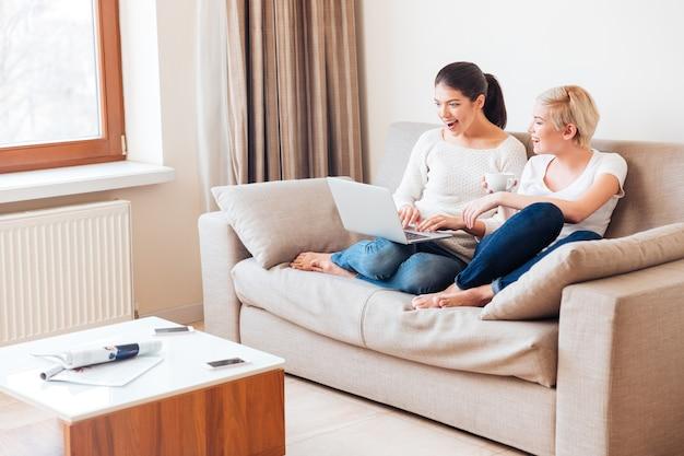 Twee vrolijke vrouwen die thuis laptopcomputer op de bank gebruiken