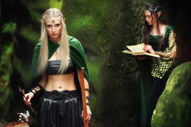 Twee vrouwelijke elf die in het hout lopen
