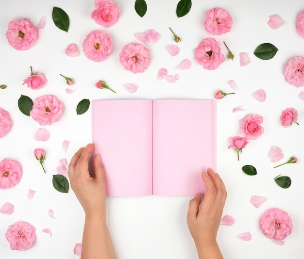 Twee vrouwelijke handen die open blocnote met schone roze bladen houden