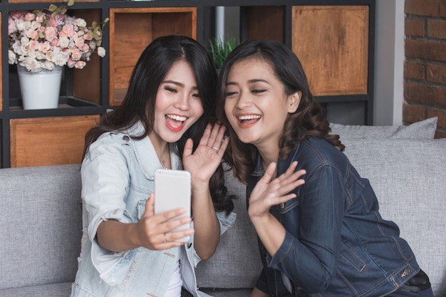 Twee vrouwelijke vrienden video-oproep