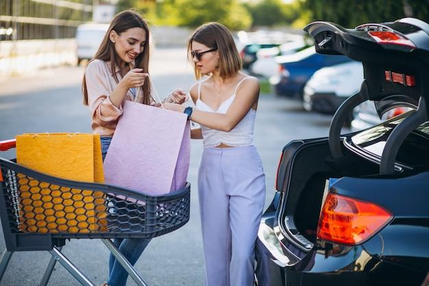 Twee vrouwen die door de markt met boodschappenwagentje winkelen