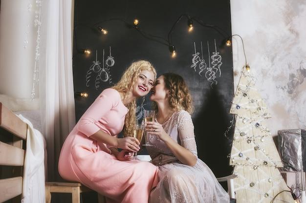 Twee vrouwen met een mooie, gelukkige glimlach om thuis samen kerstmis te vieren
