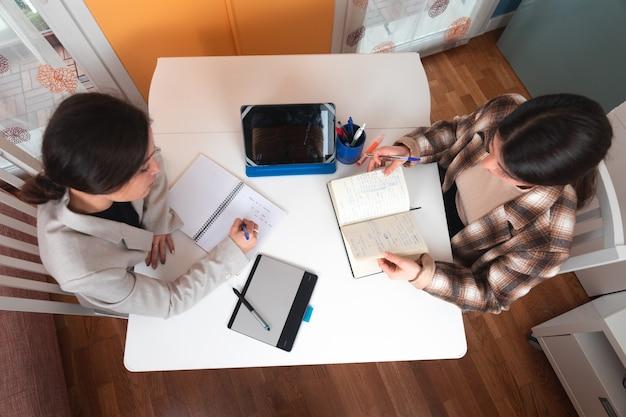 Twee vrouwen op een zakelijke bijeenkomst in een appartement