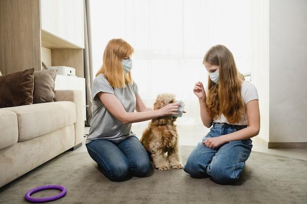 Twee vrouwtjes thuis tijdens de isolatieperiode proberen het mooie huisdier te beschermen tegen virussen, coronavirus, de muilkorf van de hond. moeder en dochter met een hond.