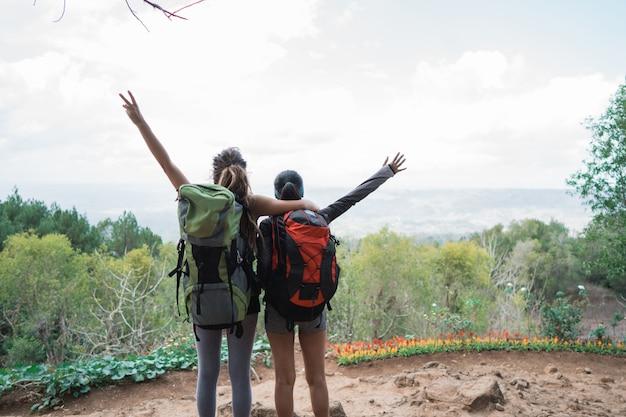Twee wandelaars staat in de prachtige bergen