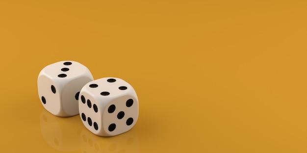 Twee witte dobbelstenen op gele achtergrond. 3d-rendering