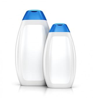 Twee witte plastic flessen shampoo