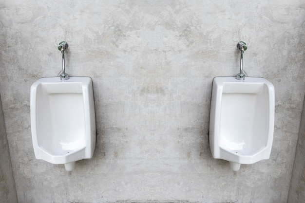 Twee witte porseleinen urinoirs met grijze zoldermuur