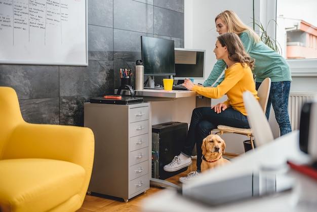 Twee zakenvrouw door het bureau met behulp van computer