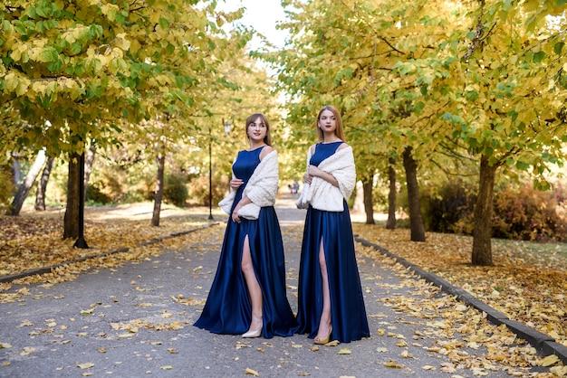 Twee zeer mooie jonge dames in modieuze blauwe jurken in herfst park.