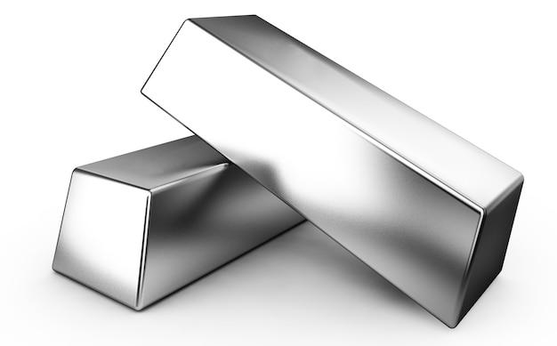 Twee zilveren bars op witte achtergrond 3d render