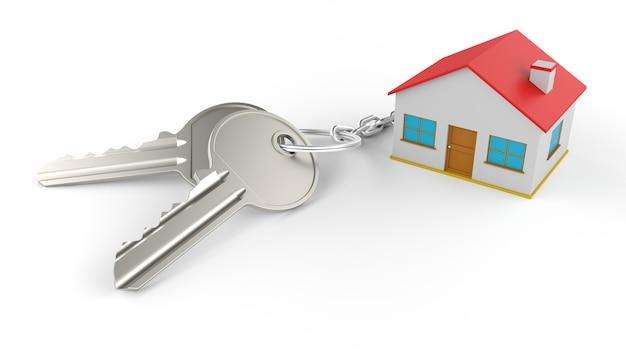 Twee zilveren sleutels met een sleutelhanger van een huis, allemaal geïsoleerd op een witte muur. . onroerend goed concept met huis en sleutel.