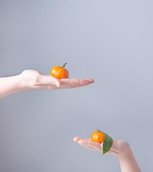 Twee zoete mandarijnen in de handen van kinderen op een grijze achtergrond. vooraanzicht