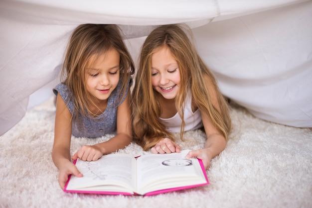 Twee zussen die hun favoriete boek lezen