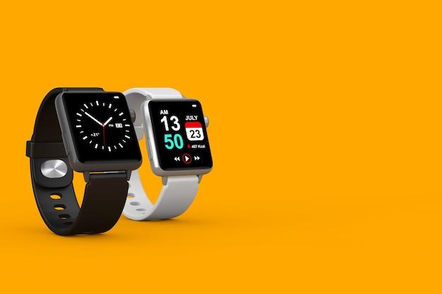 Twee zwart-wit moderne smart watch met bandjes op een gele achtergrond. 3d-rendering