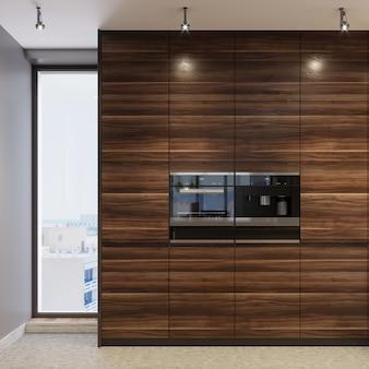 Twee zwarte inbouwovens in houten keukenmeubel. 3d-rendering