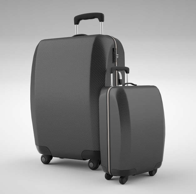 Twee zwarte koolstofvezel reistassen geïsoleerd op helder. 3d-weergave