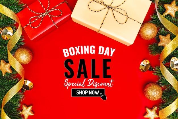 Tweede kerstdag verkoop banner met kerstcadeau