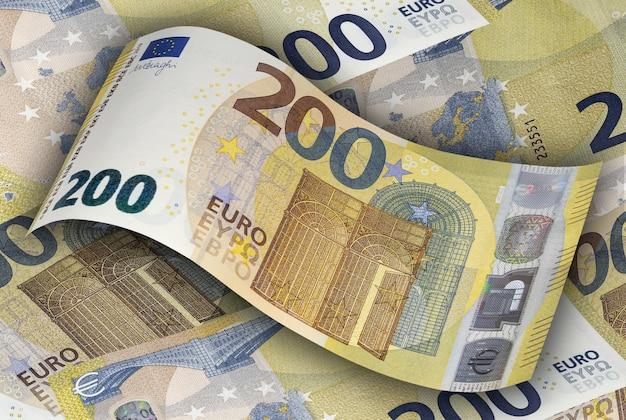 Tweehonderd euro biljet op de achtergrond van andere eurobiljetten