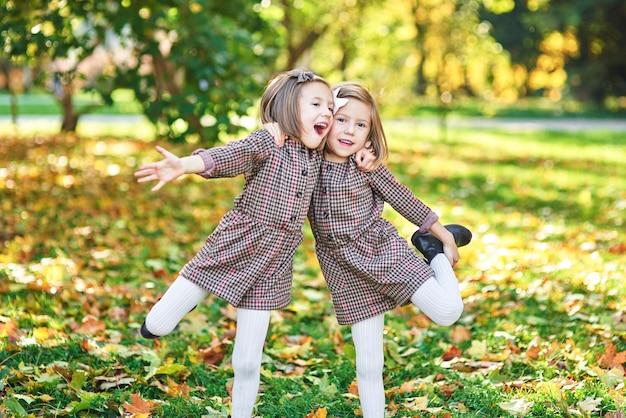 Tweelingmeisjes die elkaar omhelzen