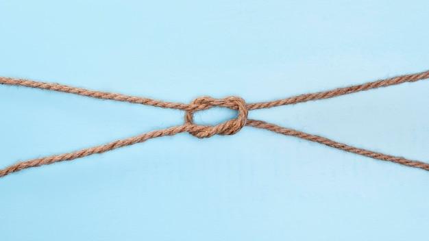 Twijn sterke beige touw dubbele knoop