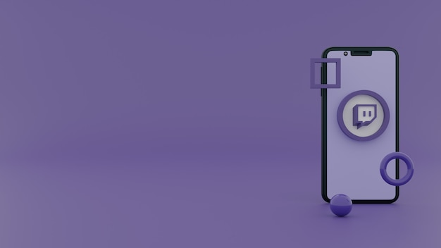 Twitch logo op iphone scherm 3d-rendering social media concept