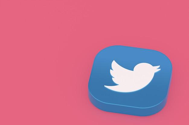 Twitter applicatie logo 3d-rendering op roze achtergrond