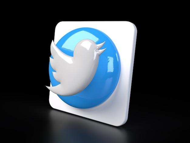 Twitter cirkel logo pictogram 3d premium foto 3d glanzende matte weergave