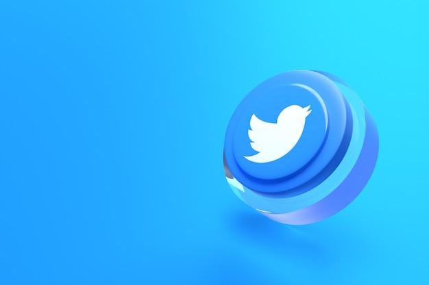 Twitter-logo minimaal eenvoudig ontwerp 3d met blauwe achtergrond