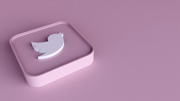Twitter-logo minimaal eenvoudig ontwerpsjabloon. kopie ruimte 3d render