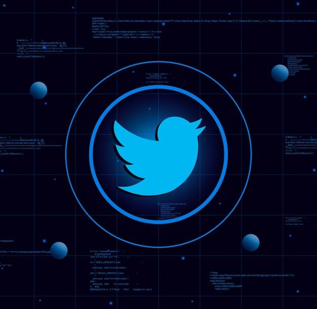 Twitter-logo op realistische technische achtergrond